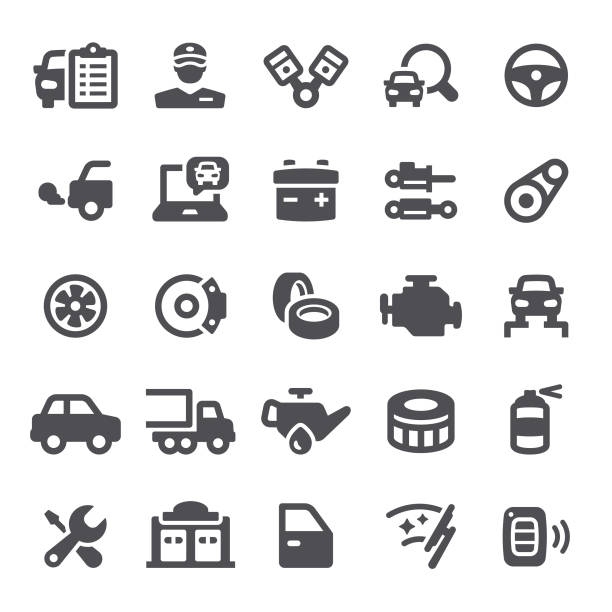 Car Service Icons Car service, auto repair shop, garage, icon, icon set, auto parts, auto, maintenance vehicle part stock illustrations