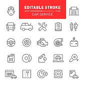 Car service, auto repair shop, auto parts, auto, maintenance, icon, icon set, outline, editable stroke
