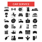 Car service illustration, thin line icons, linear flat signs, vector symbols, outline pictograms set, editable strokes