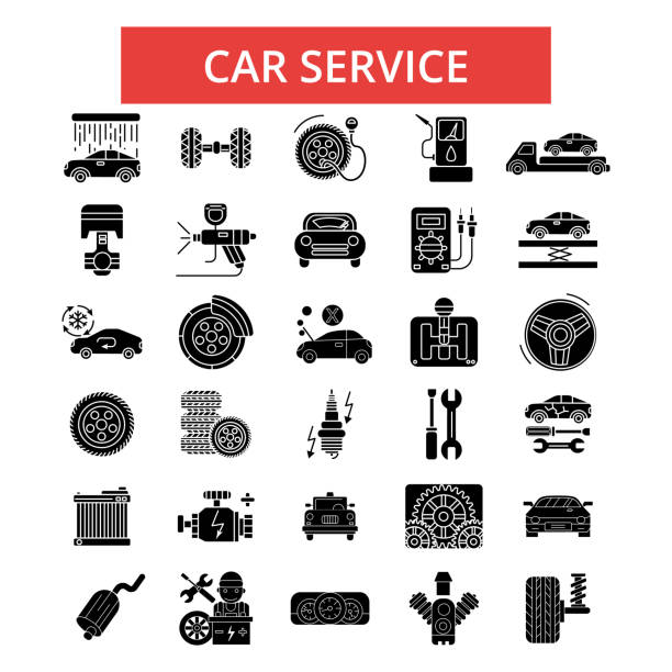 Car service illustration, thin line icons, linear flat signs, vector symbols, outline pictograms set, editable strokes Car service illustration, thin line icons, linear flat signs, outline pictograms, vector symbols set, editable strokes automobile industry stock illustrations