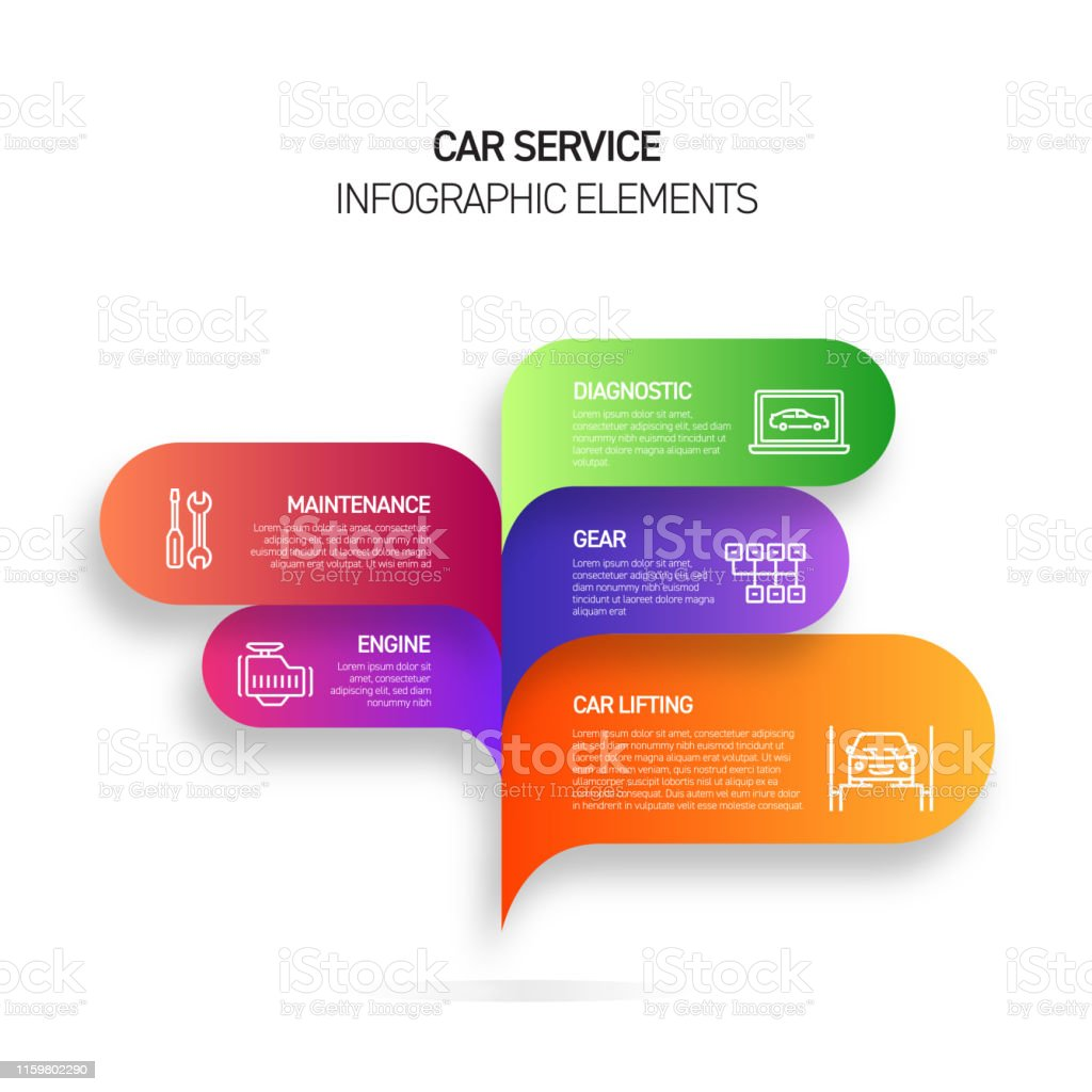 Car Service Infographic Design Template With Icons And 5 ... on