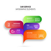 Car Service Infographic Design Template with Icons and 5 Options or Steps for Process diagram, Presentations, Workflow Layout, Banner, Flowchart, Infographic.