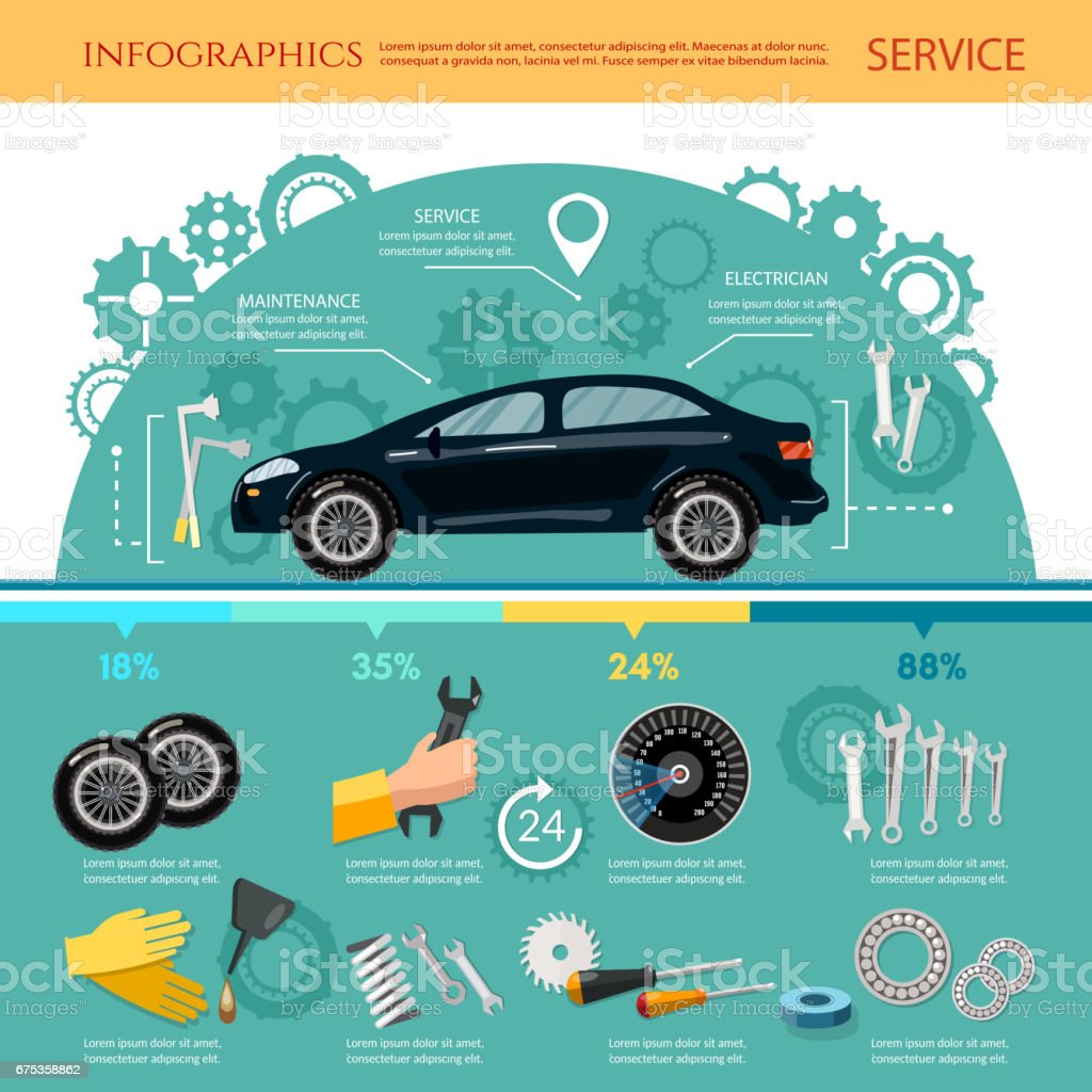 Car service infographic mechanic tool tuning diagnostics, tire service, car repair vector art illustration