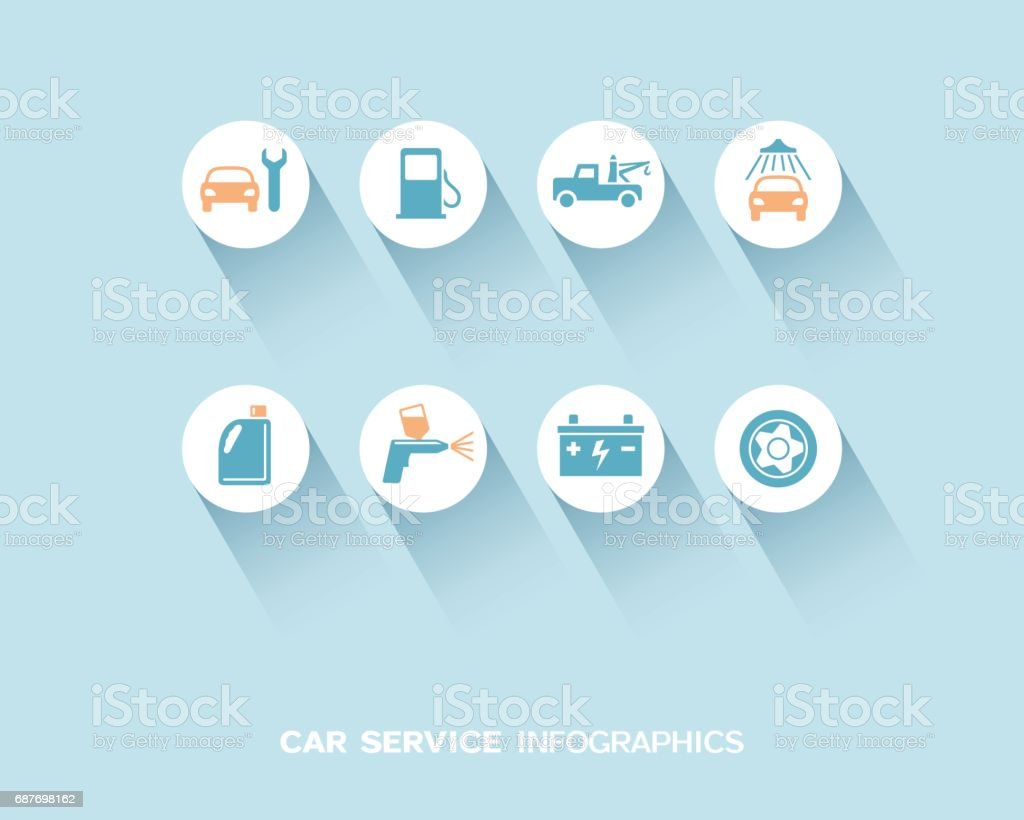 Car service infographic with flat icons set vector art illustration