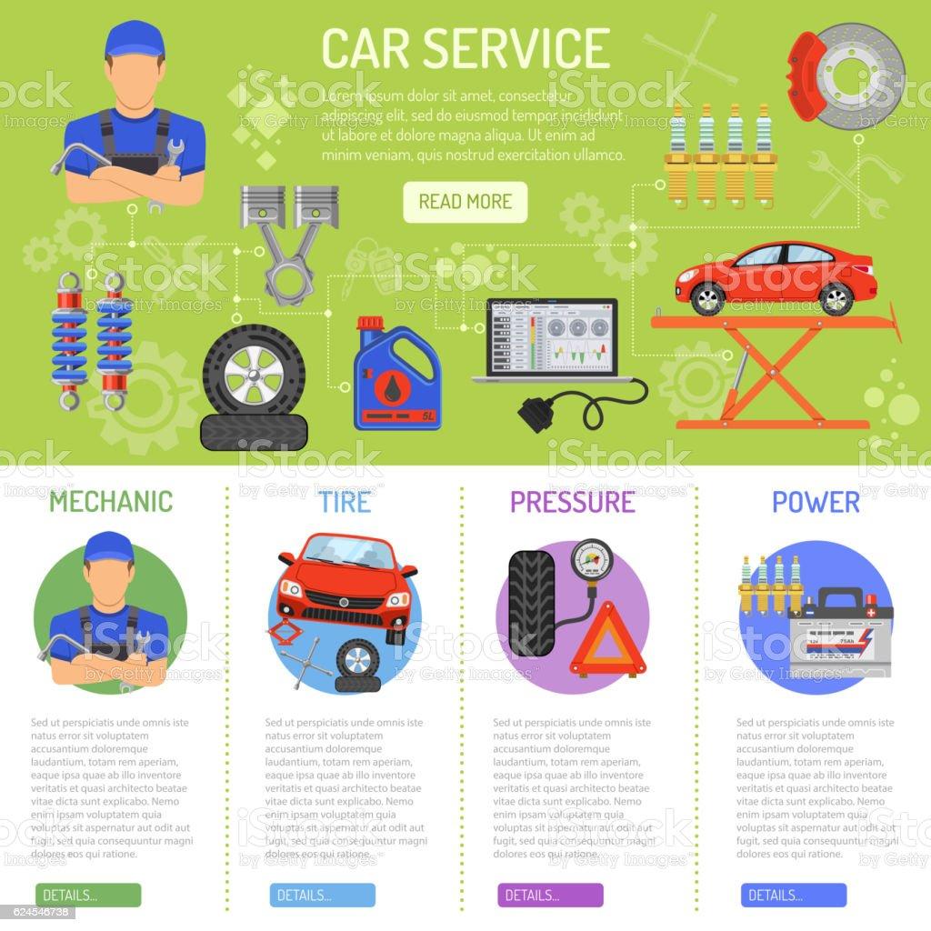 Car Service Infographics vector art illustration
