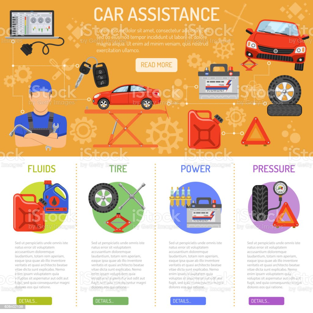 Car Service Infographics vector art illustration