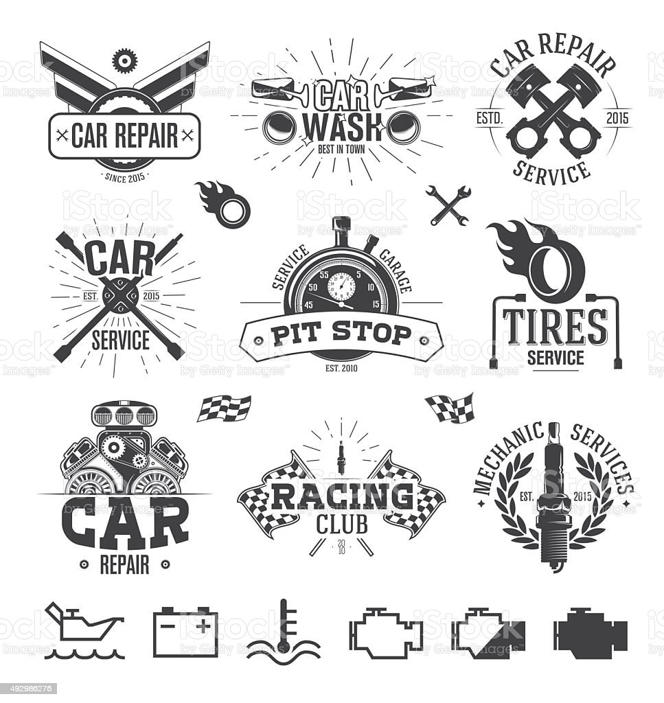Car service Labels, Emblems and Logos vector art illustration