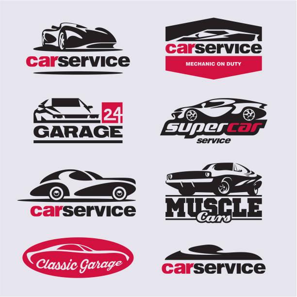 car service labels, garage vector car service labels, car garage sports car stock illustrations