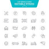 Auto Repair Shop, Workshop, Garage, Washing, Car, Editable Stroke Icon Set