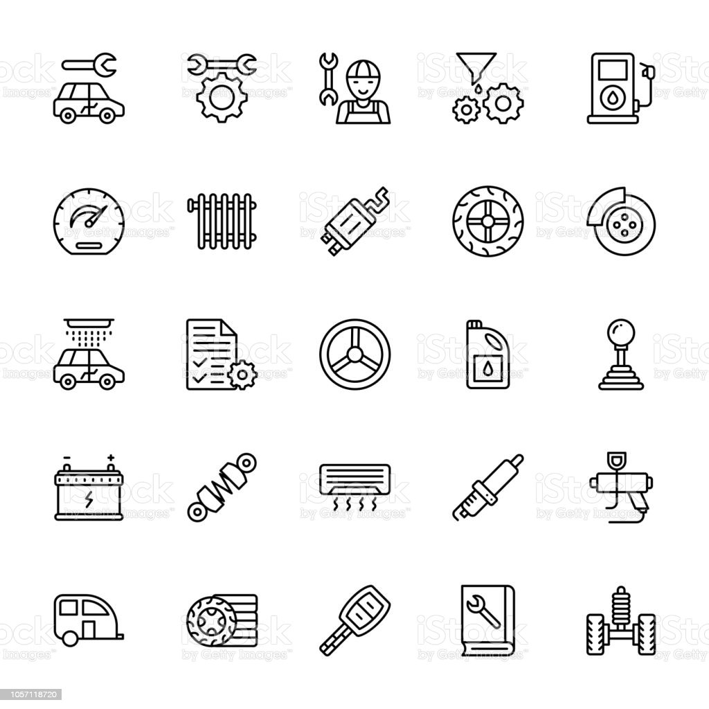 Car Service Line Vector Icons vector art illustration