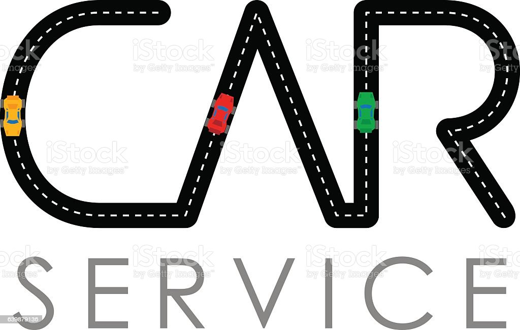 car service logo template asphalt road with small vehicles stock rh istockphoto com Auto Mechanic Logo Mechanic Car Repair Clip Art