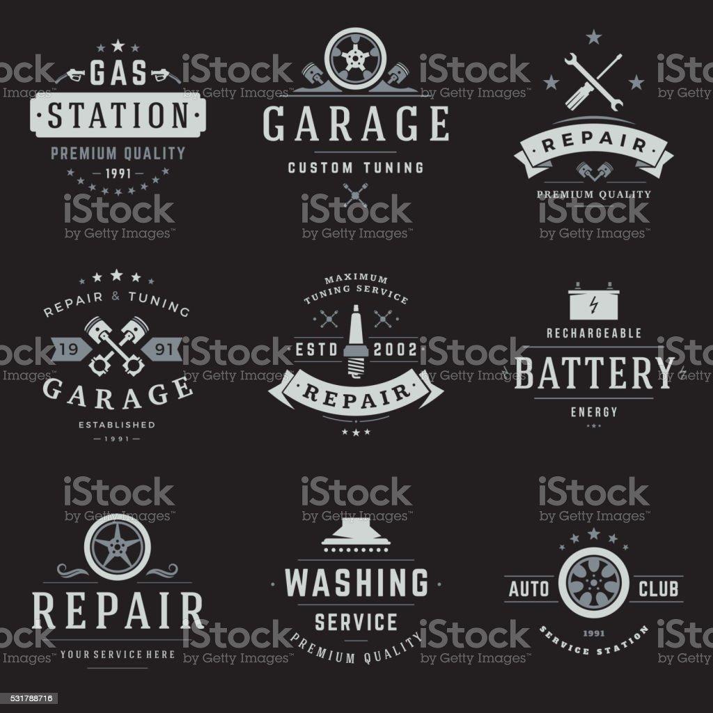 Car Service Logos Templates Set vector art illustration