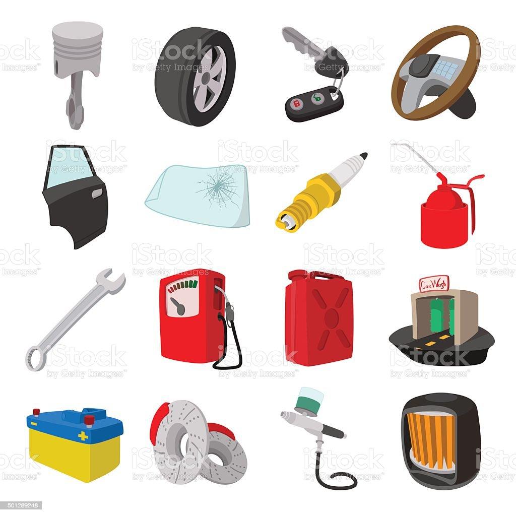 Car service maintenance cartoon icons