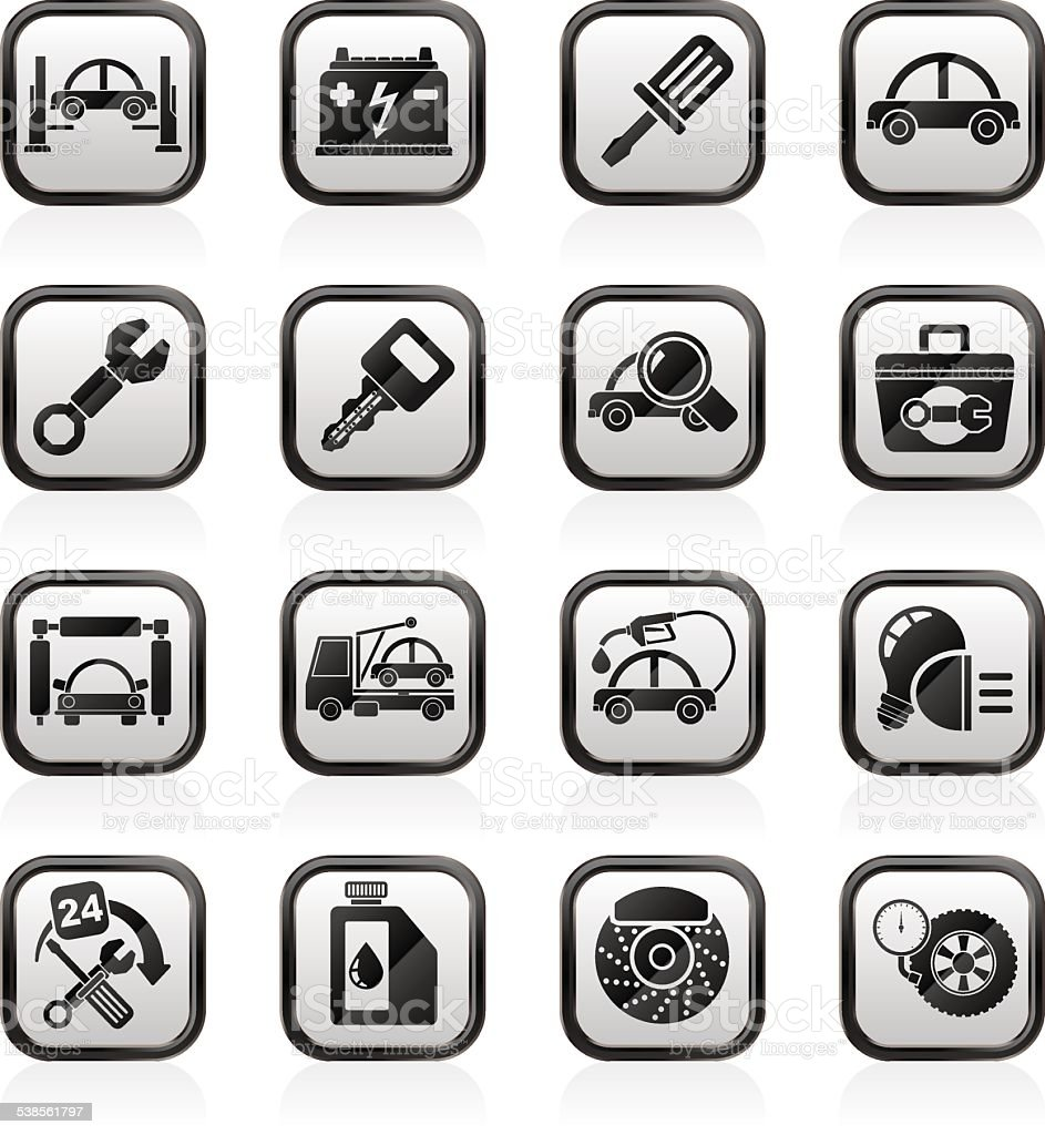Car service maintenance icons vector art illustration
