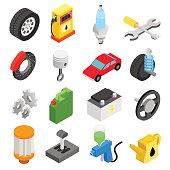 Car service maintenance isometric icons