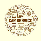 car service minimal thin line icons set