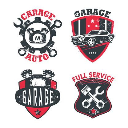 Car service or repair station, garage signs