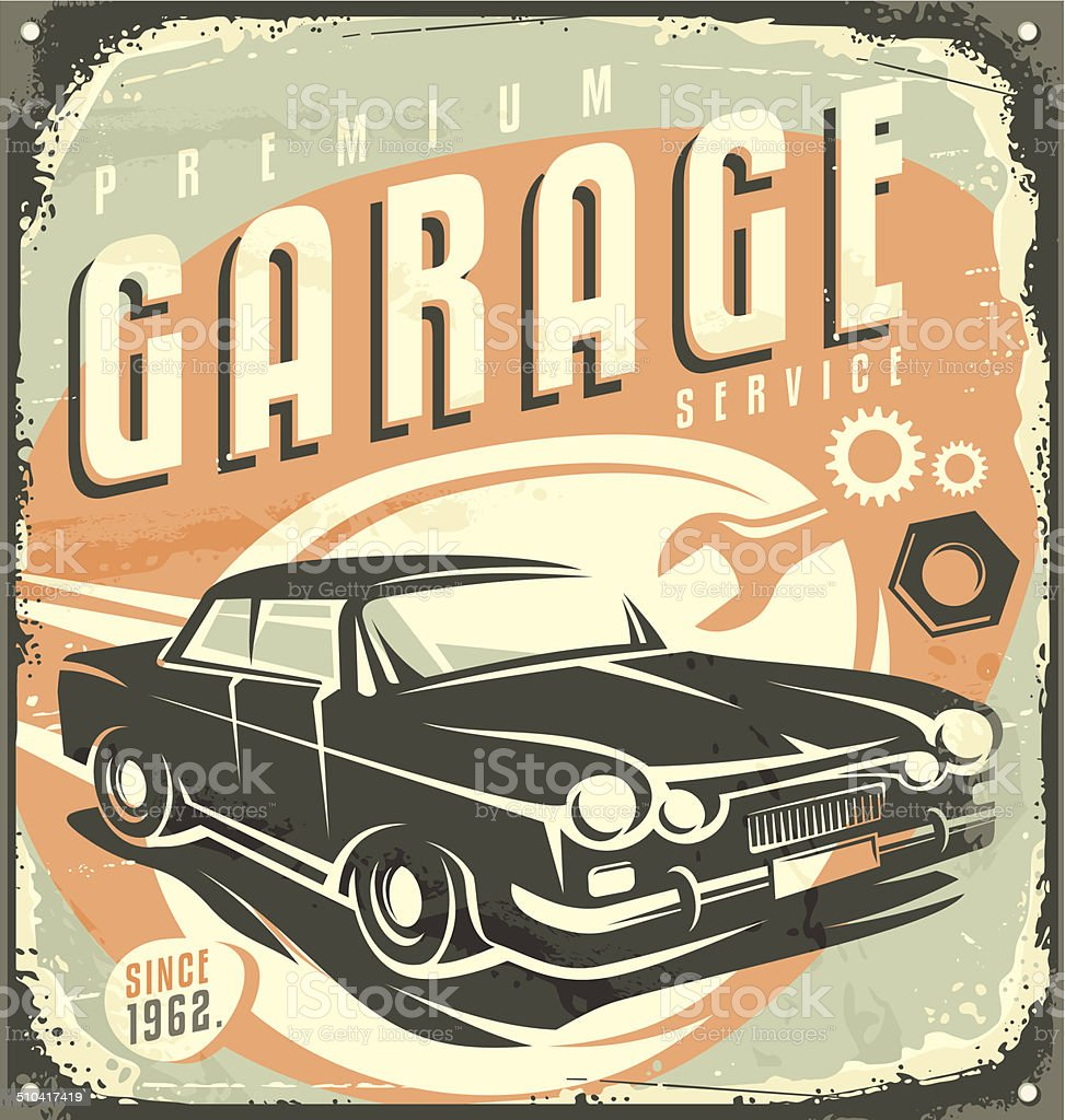 Car service - Promotional retro design concept. vector art illustration