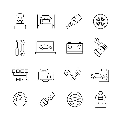 Car Service Related - Set of Thin Line Vector Icons