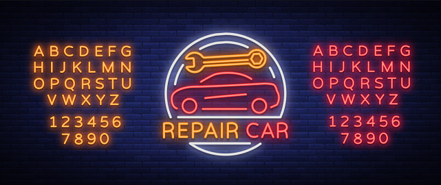 Car service repair logo vector, neon sign emblem. Vector illustration, car repair, shiny signboard for garage for auto repair. A flaming banner, a nightly bright signboard. Editing text neon sign