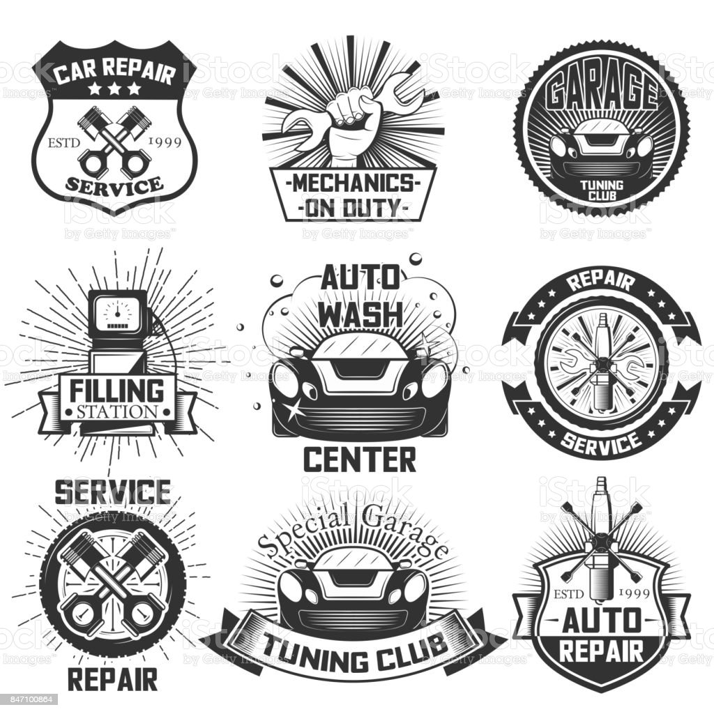 Car service s vintage vector labels, badges and icons set vector art illustration