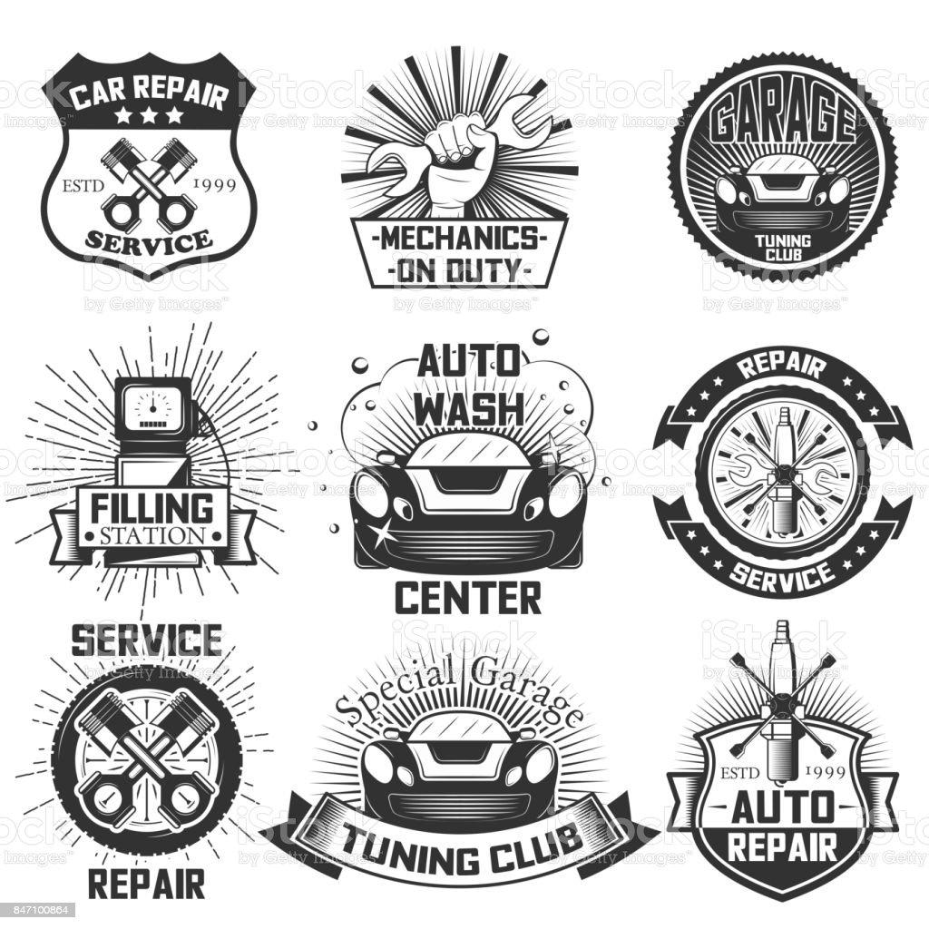 Auto Service s Vintage Vektor Etiketten, Abzeichen und Symbole-set – Vektorgrafik