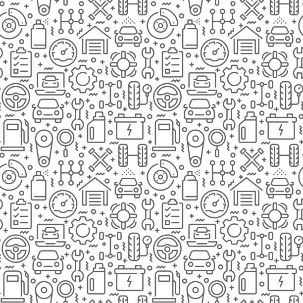 Car service seamless pattern with thin line icons Car service seamless pattern with thin line icons machine part stock illustrations