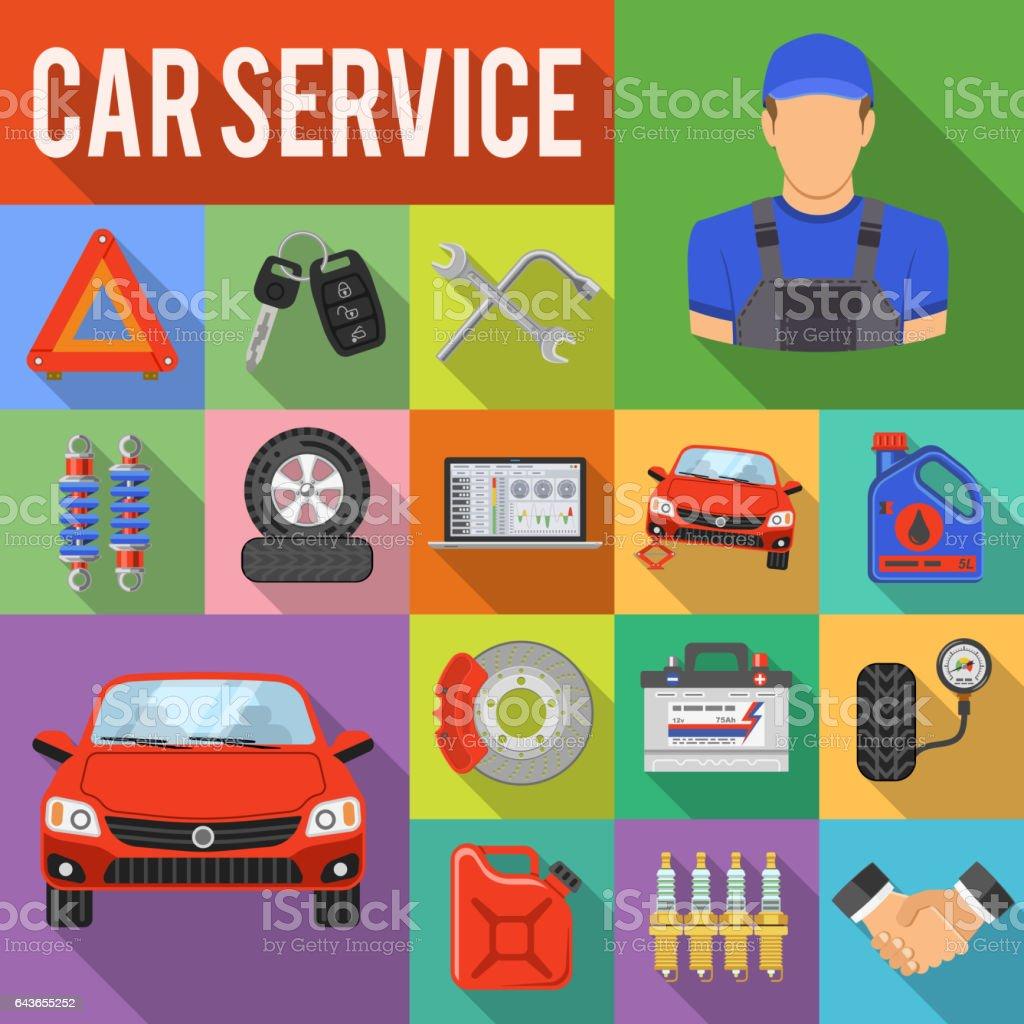 Car Service Set Vector Icons vector art illustration