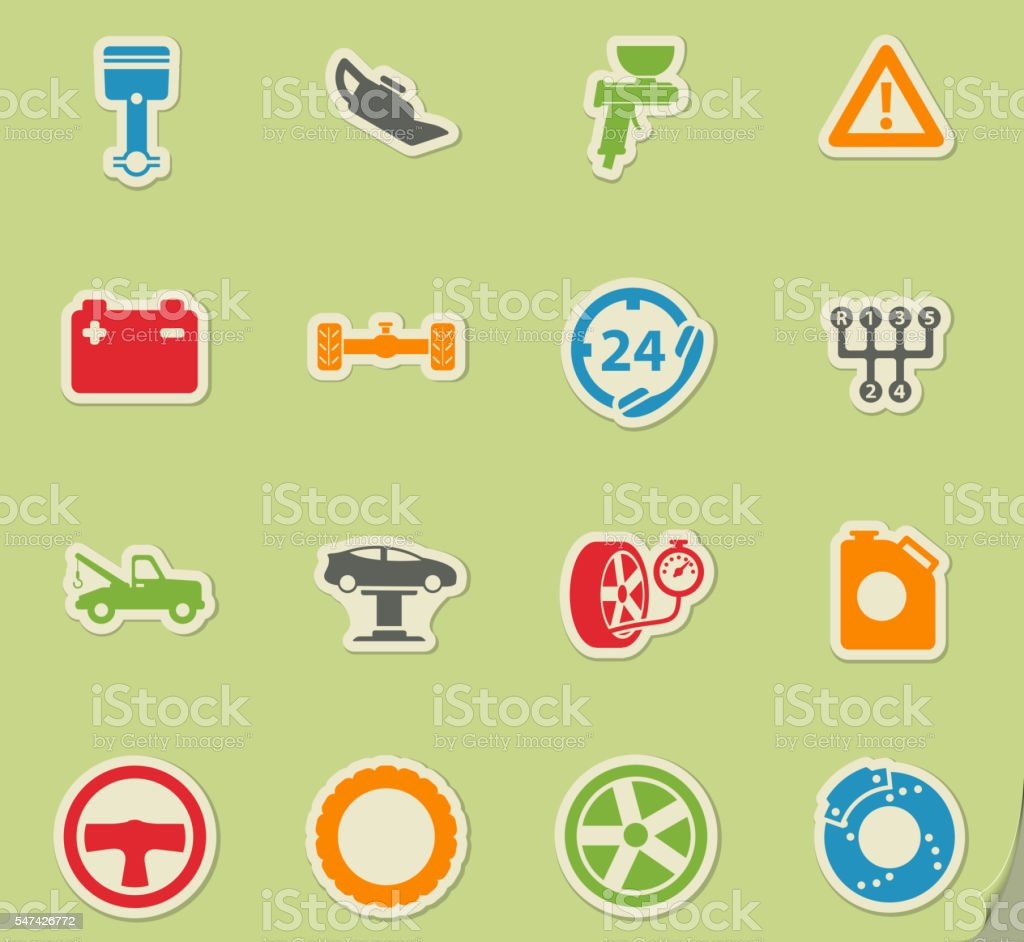 Car service simply icons vector art illustration