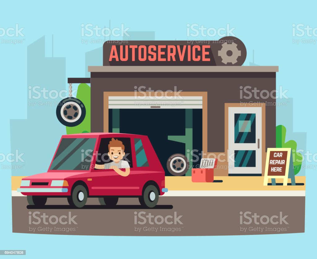 Car service station or repair garage with happy customer vector illustration