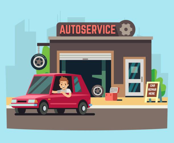 ilustrações, clipart, desenhos animados e ícones de estação de serviço ou garagem de reparação com ilustração vetorial de cliente feliz - garage