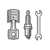 istock Car service station sign, spark plug, piston and spanner icons, maintenance shop logo 1220399749