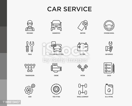 Car service thin line icons set: mechanic, computer diagnostics, ignition, steering wheel , battery, transmission, engine, piston, oil petrol, tire fitting. Modern vector illustration.