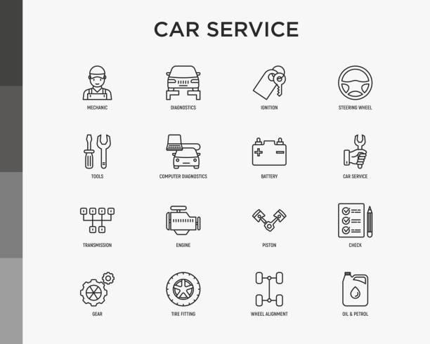 serwis samochodowy cienka linia ikony zestaw: mechanik, diagnostyka komputerowa, zapłon, kierownica, bateria, skrzynia biegów, silnik, tłok, benzyna olejowa, montaż opon. nowoczesna ilustracja wektorowa. - część stock illustrations