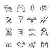 Car service thin line icons, Set Of 16 car service outline icons, Simple clearly defined shapes in one color.