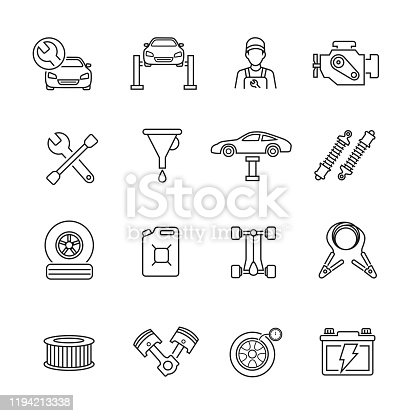 istock Car service thin line icons 1194213338