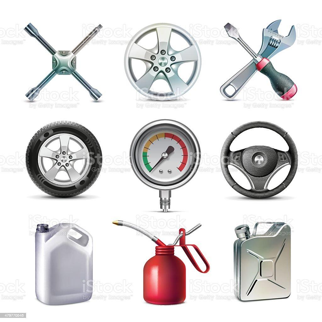 Car service tools set vector art illustration