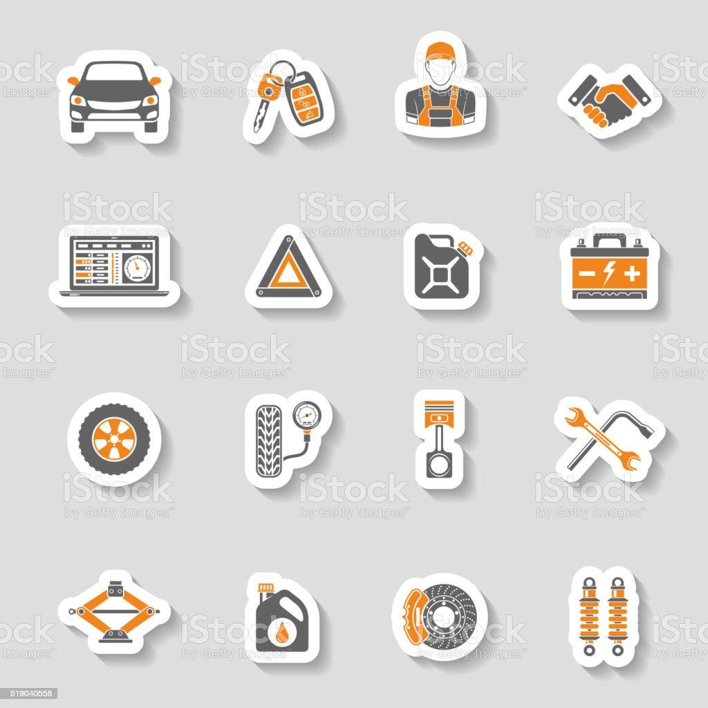 Car Service Vector Icons Sticker Set vector art illustration