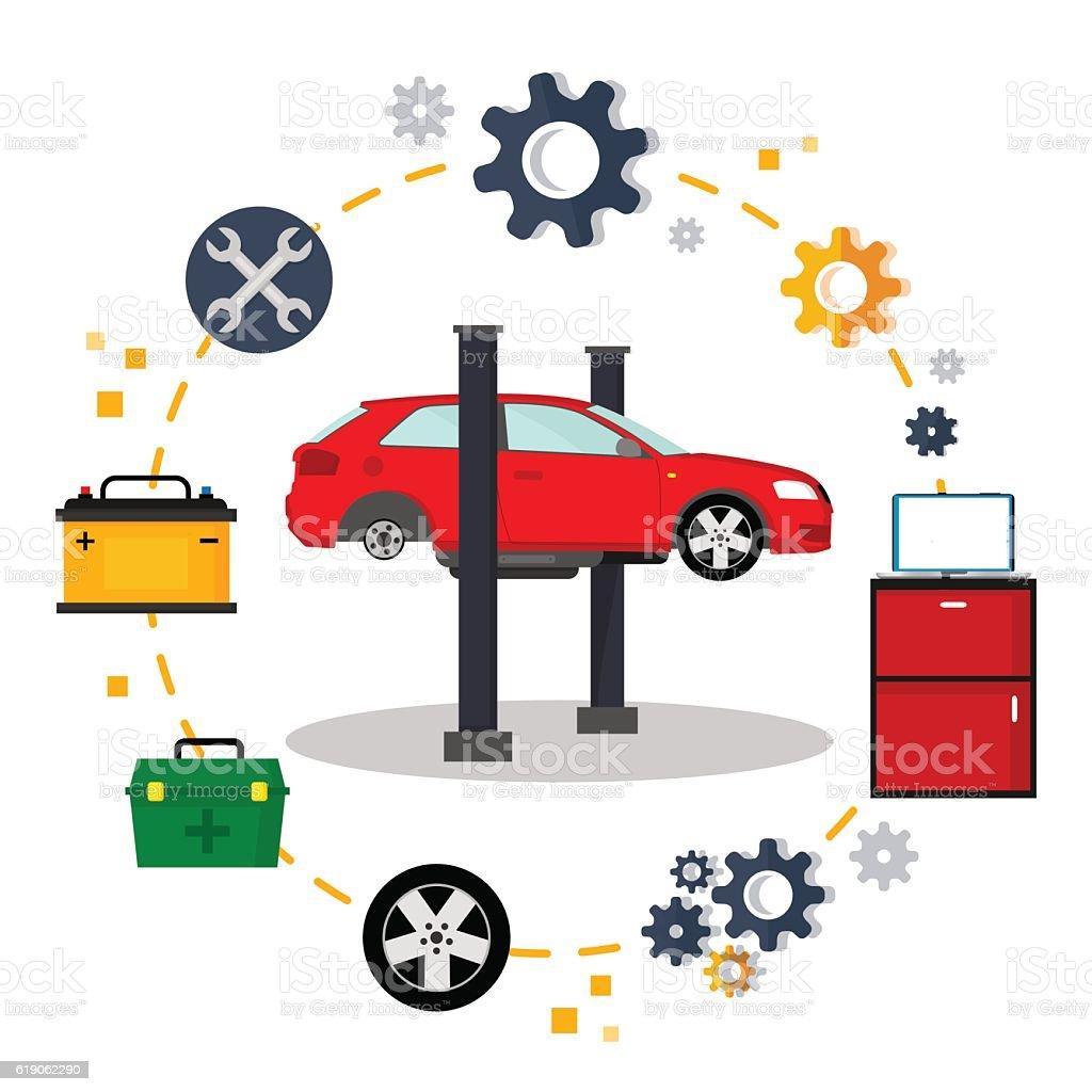 Car service vector art illustration