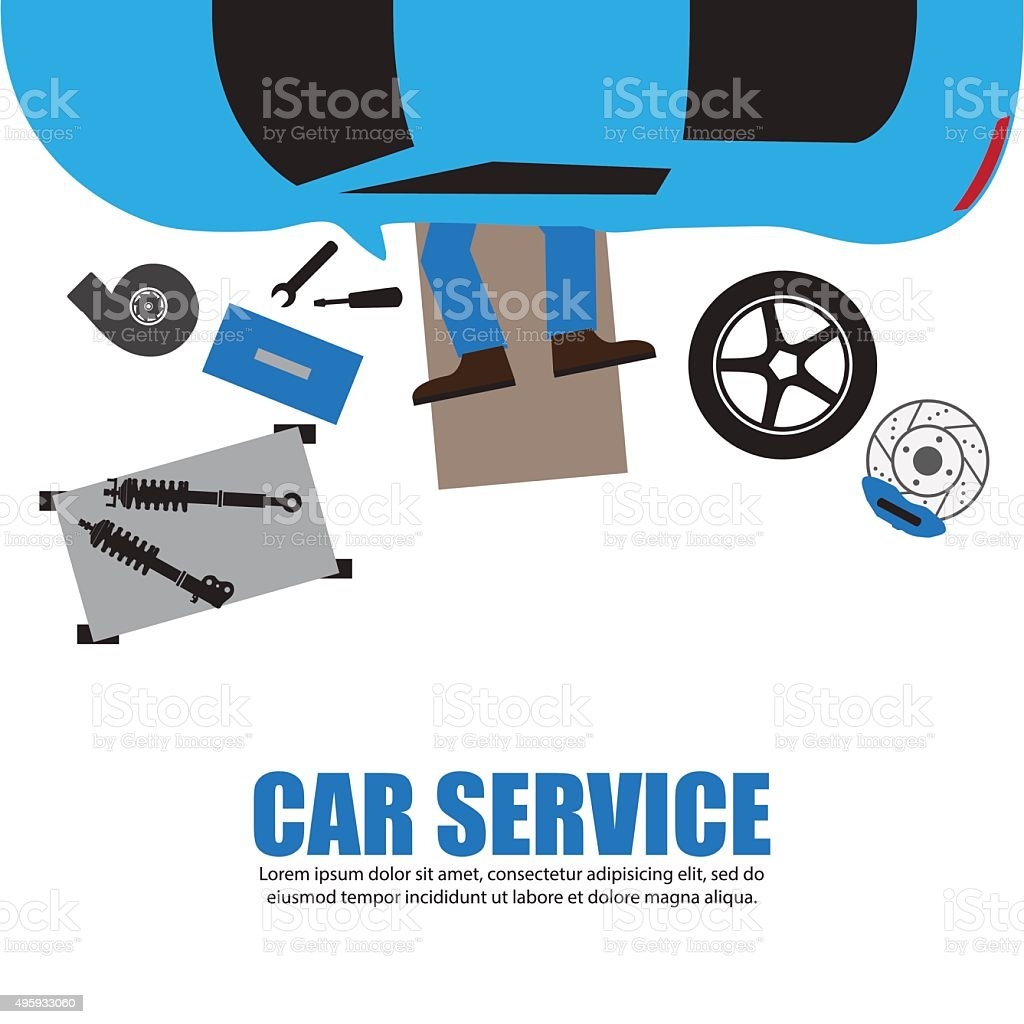 Car service,Auto mechanic,Car Mechanic Repairing Under Automobil vector art illustration