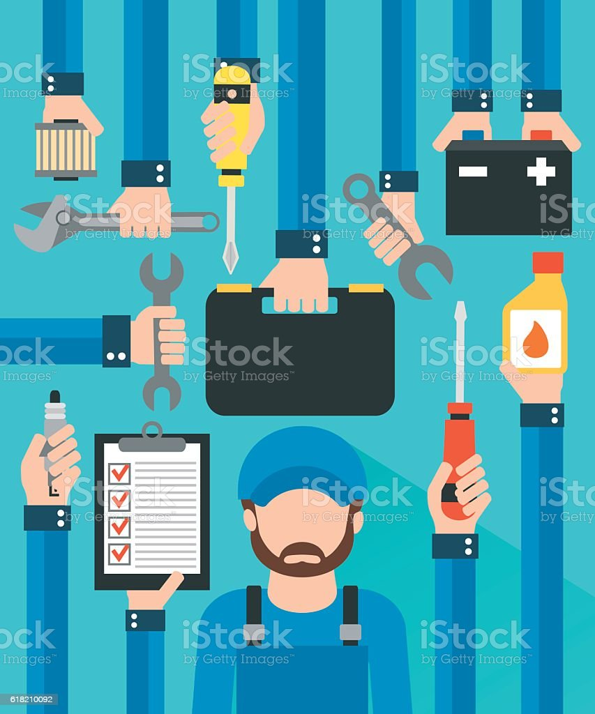 Car serviceman , repairing equipment modern design flat vector art illustration