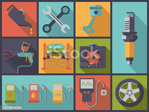 Horizontal flat design illustration with car service and repair symbols