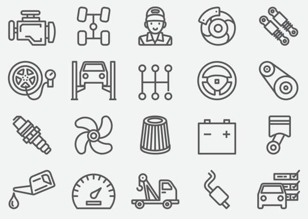 ikony linii usług samochodowych - część stock illustrations