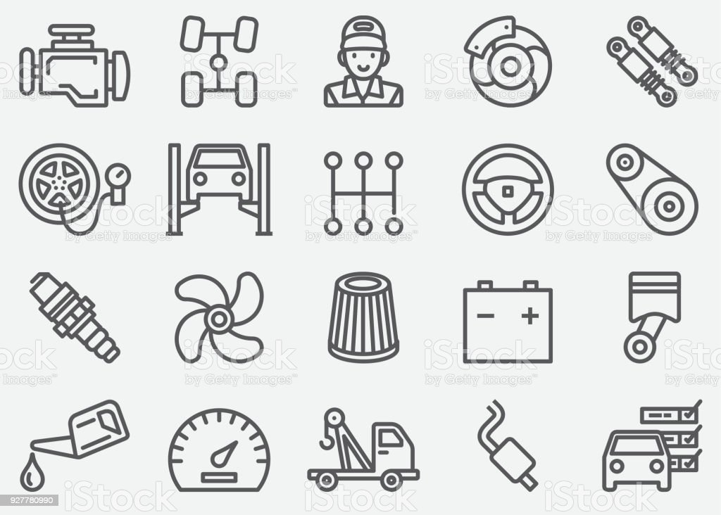 Car Services Line Icons vector art illustration