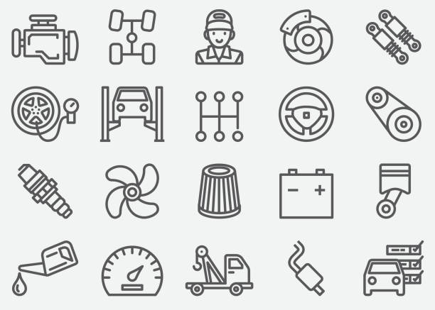 car services line icons - mechanic stock illustrations, clip art, cartoons, & icons