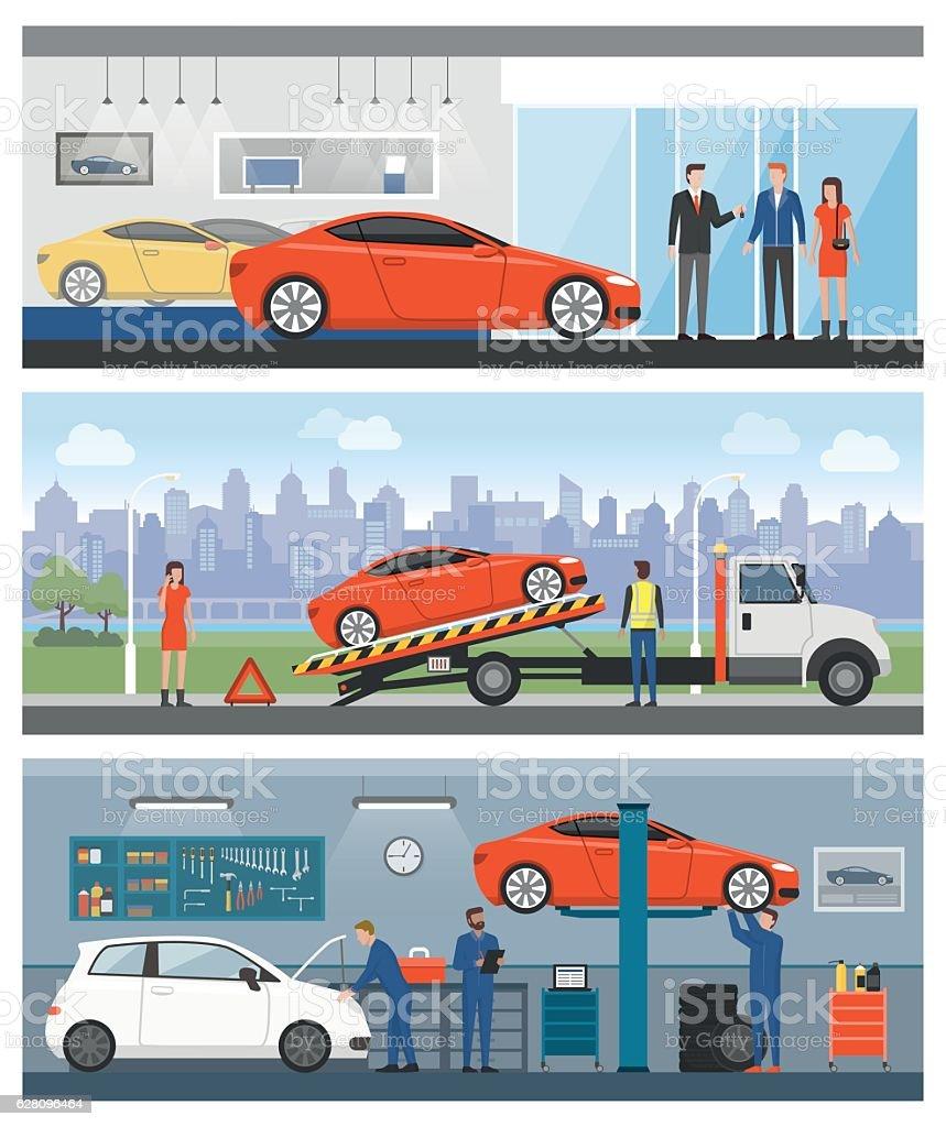 Car services vector art illustration