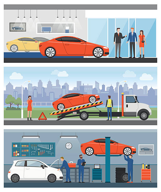 Car services Car dealership, roadside assistance and auto repair shop with people and workers banners set showroom stock illustrations