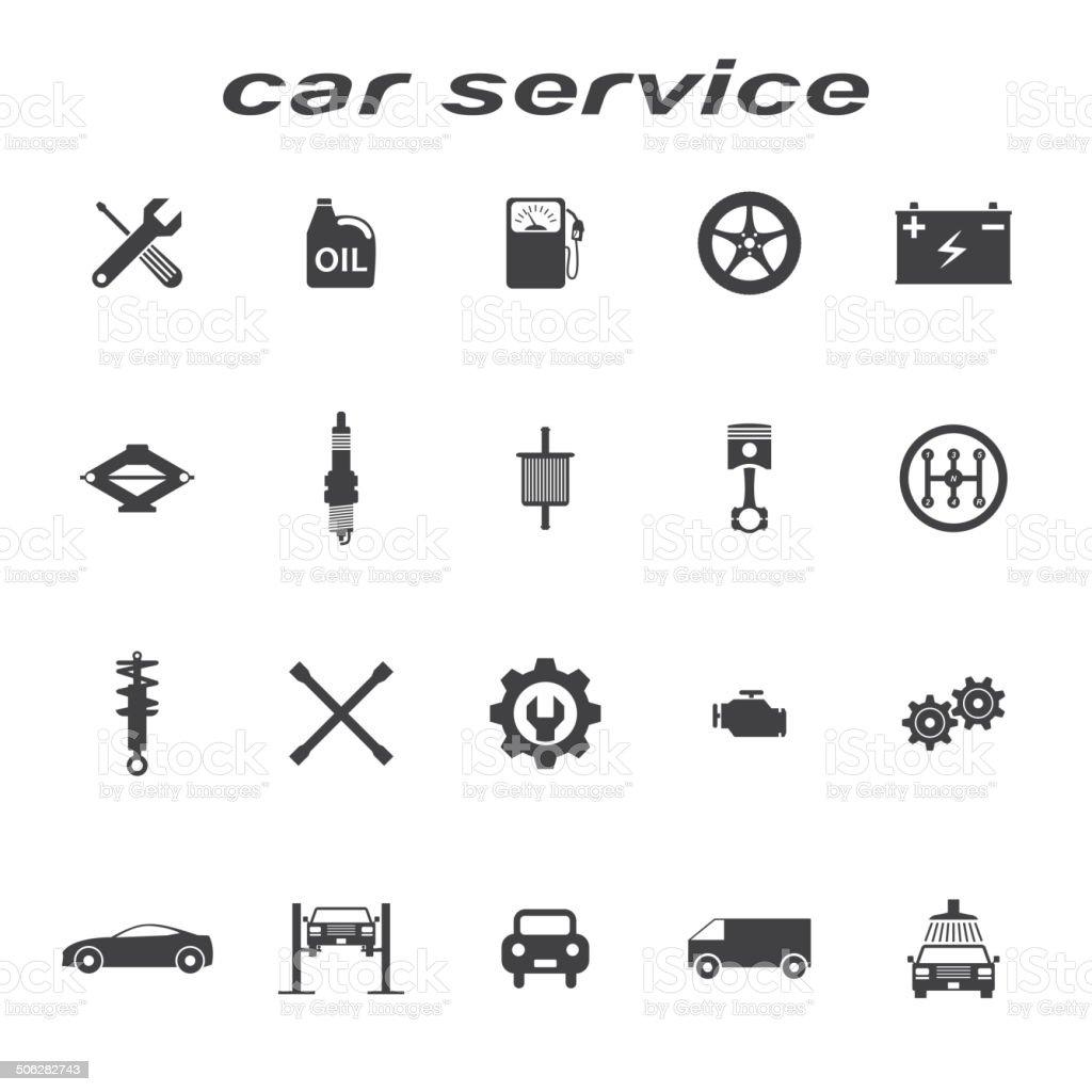car servise icons vector art illustration