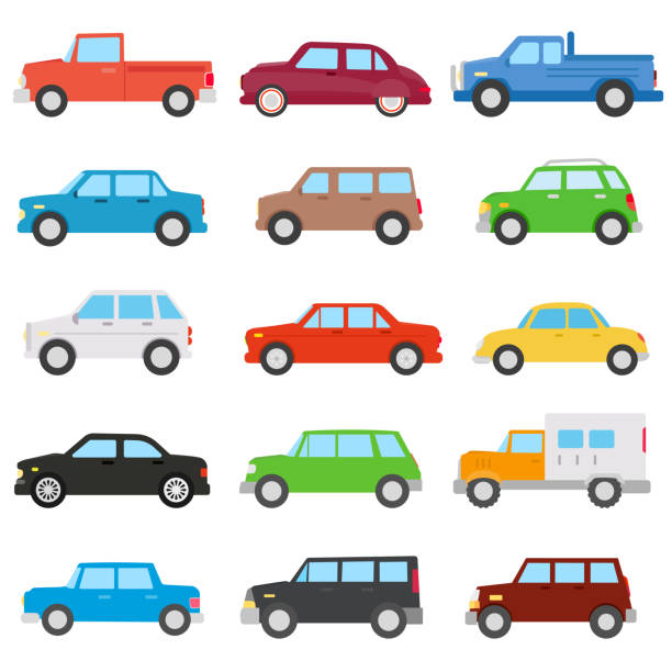 car set. automobile collection collection of icons on cars of different colors.  flat design lateral surface stock illustrations