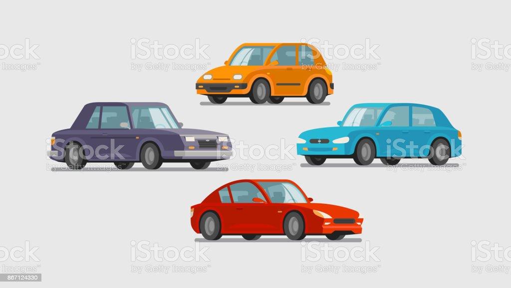 Auto-Set von Icons. Fahrzeug, Verkehr, Parken, Werkstattkonzept. Cartoon-Vektor-illustration – Vektorgrafik